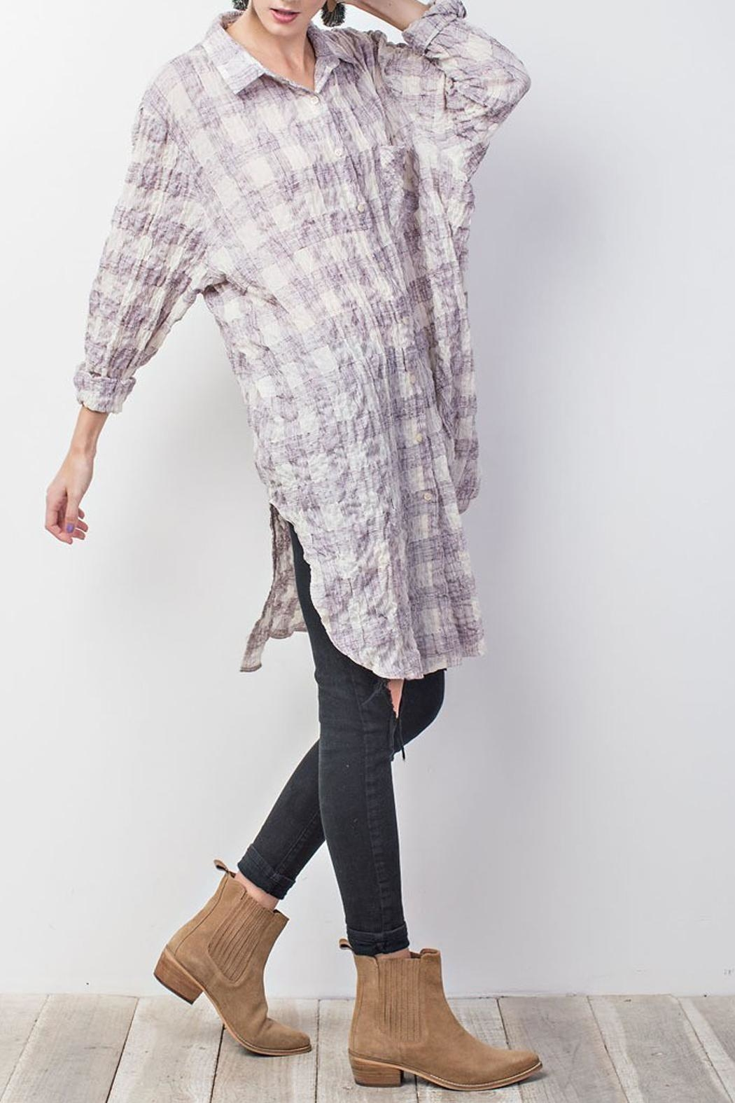 easel Plum-Plaid Cotton Tunic - Front Full Image