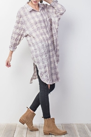 easel Plum-Plaid Cotton Tunic - Front full body