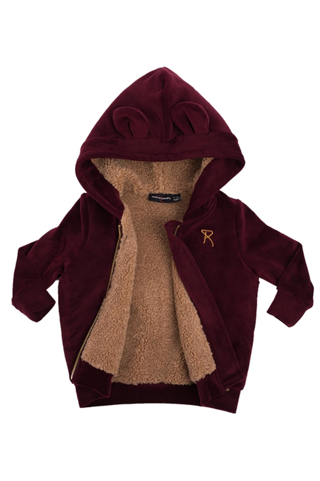 Rock Your Baby Plum Velvet Hoodie - Front Full Image