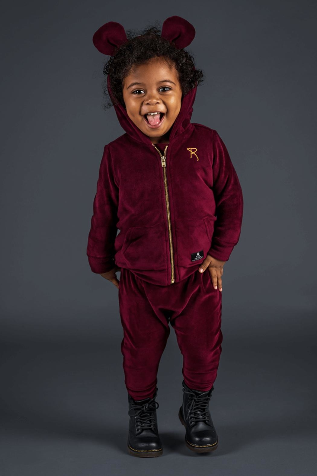 Rock Your Baby Plum Velvet Hoodie - Side Cropped Image