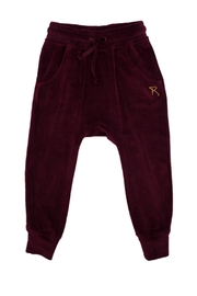 Rock Your Baby Plum Velvet Trousers - Front cropped
