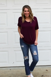 Double Zero Plum Vneck Tee - Product Mini Image