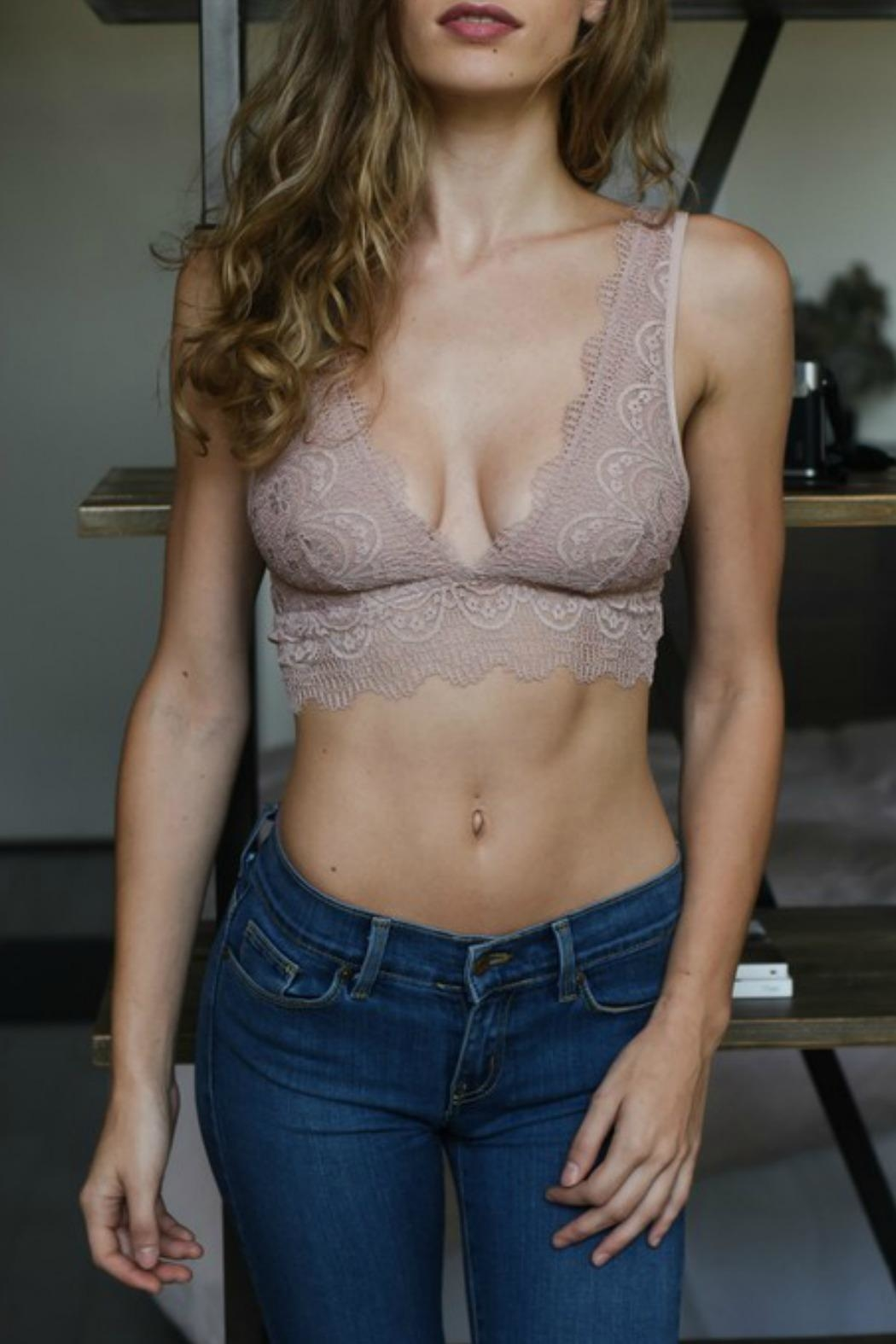 Leto Plunge Lace Bralette - Front Cropped Image