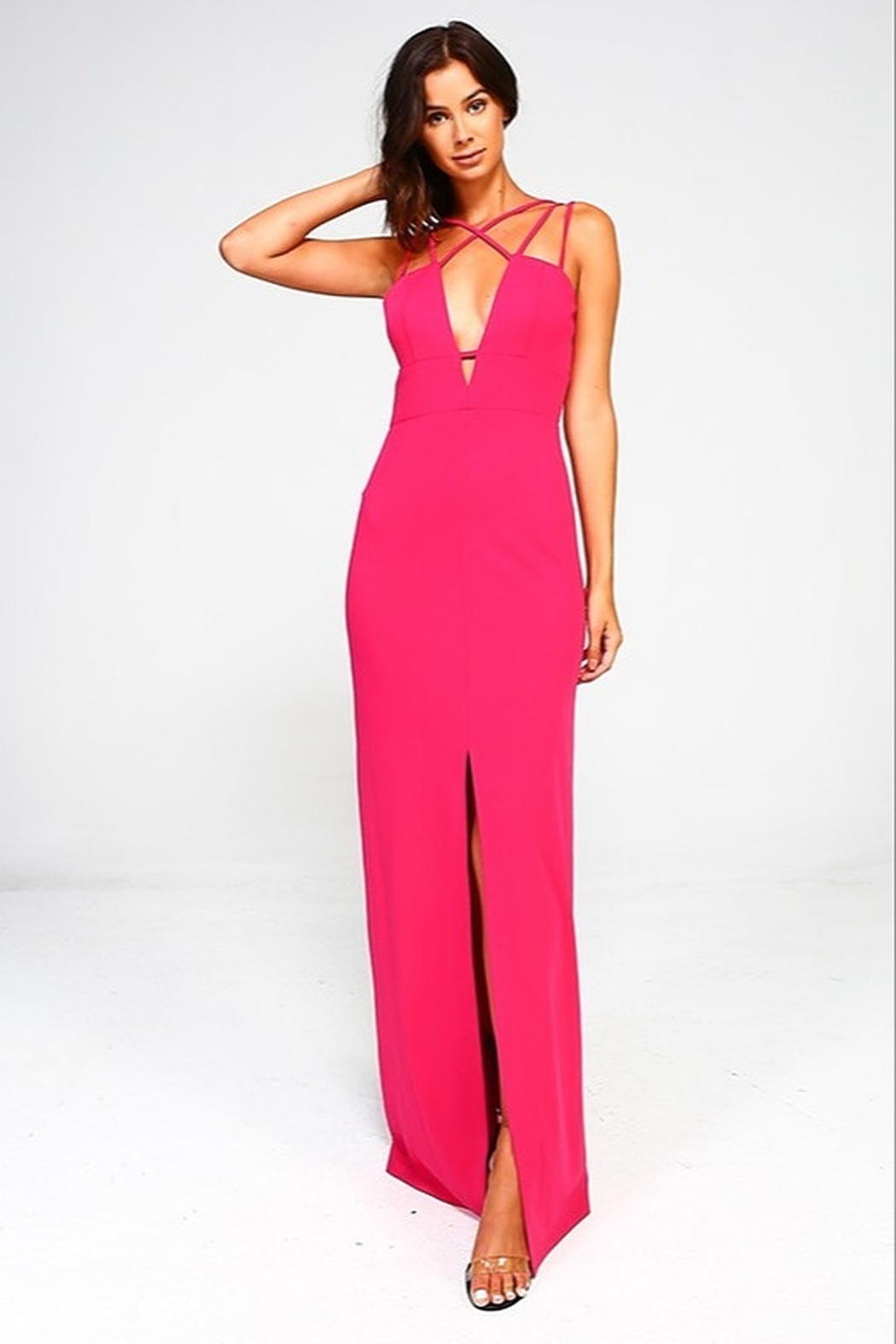 Minuet Plunge Neck Gown - Side Cropped Image