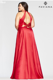 Faviana Plunging Charmeusse Gown - Front full body