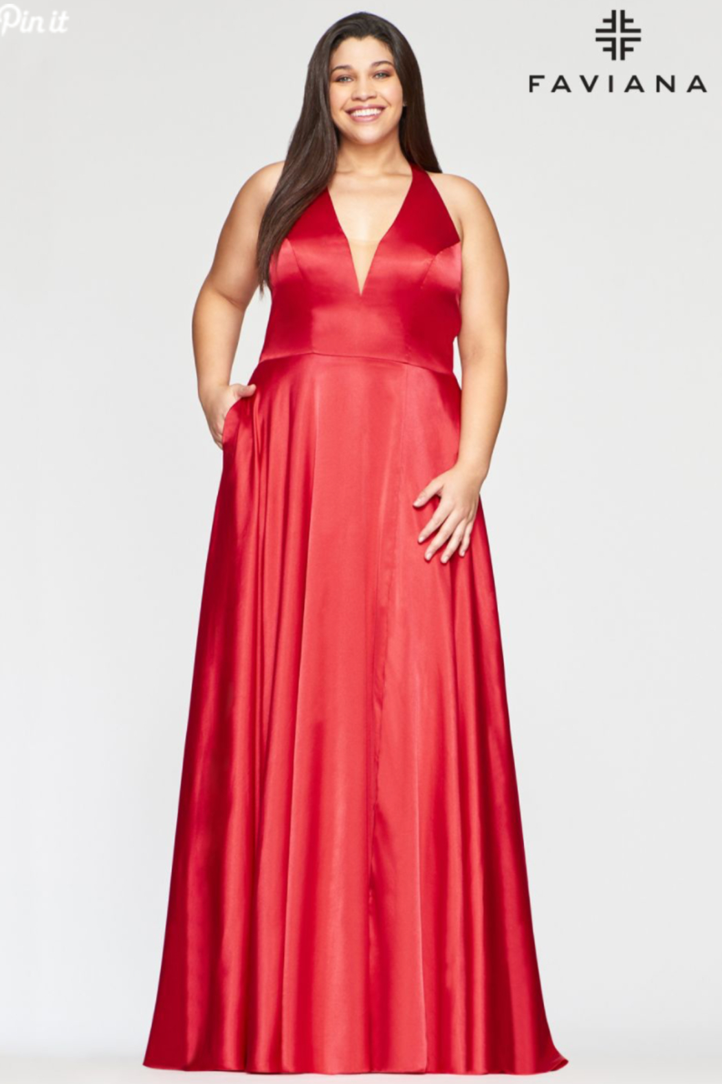 Faviana Plunging Charmeusse Gown - Main Image