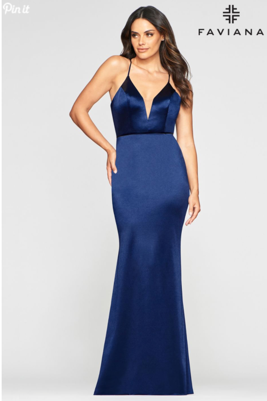 Faviana Plunging Gold Gown - Front Cropped Image