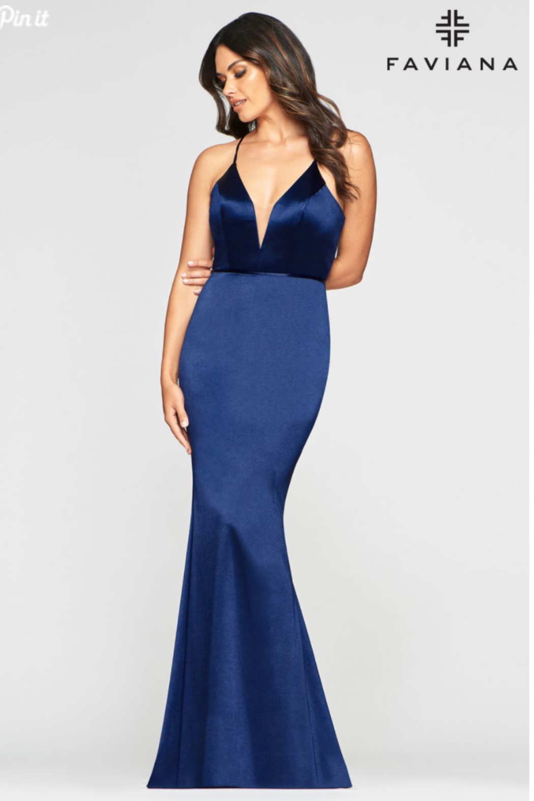 Faviana Plunging Gold Gown - Side Cropped Image