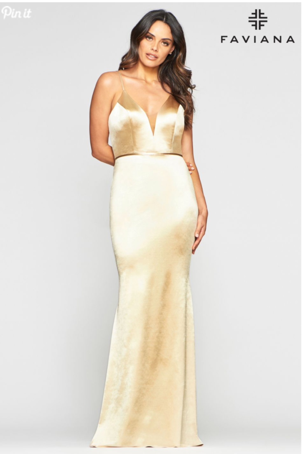Faviana Plunging Gold Gown - Main Image