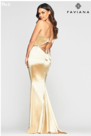 Faviana Plunging Gold Gown - Front full body