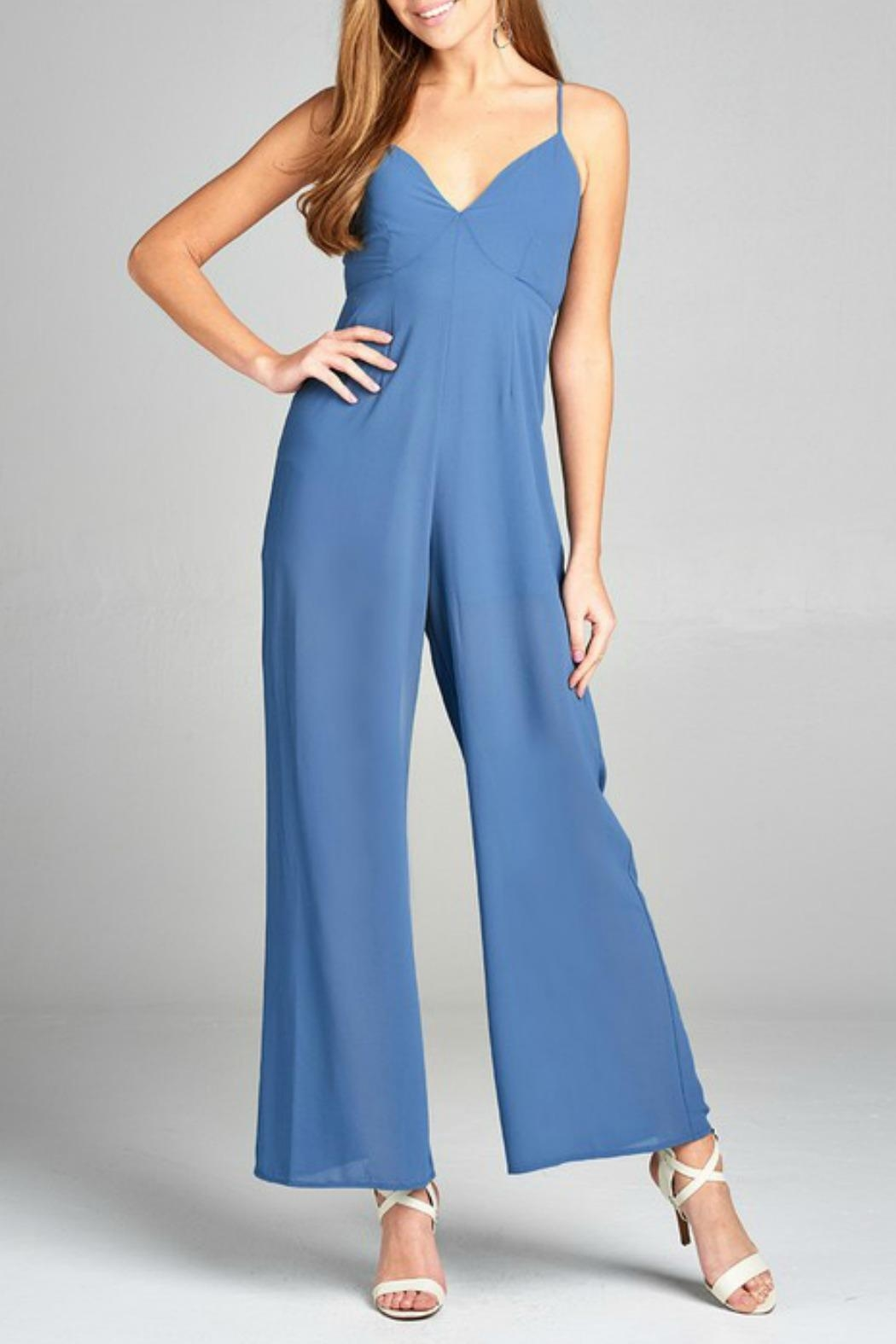 Active Basic Plunging Jumpsuit - Main Image