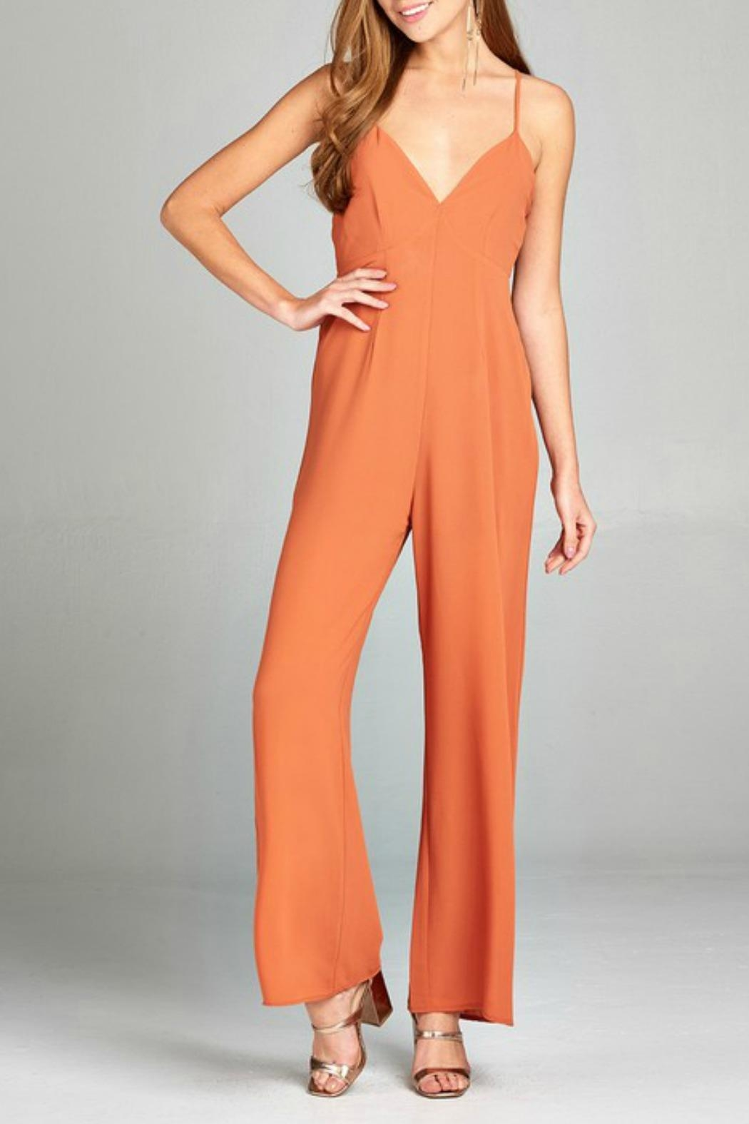 Active Basic Plunging Jumpsuit - Front Cropped Image