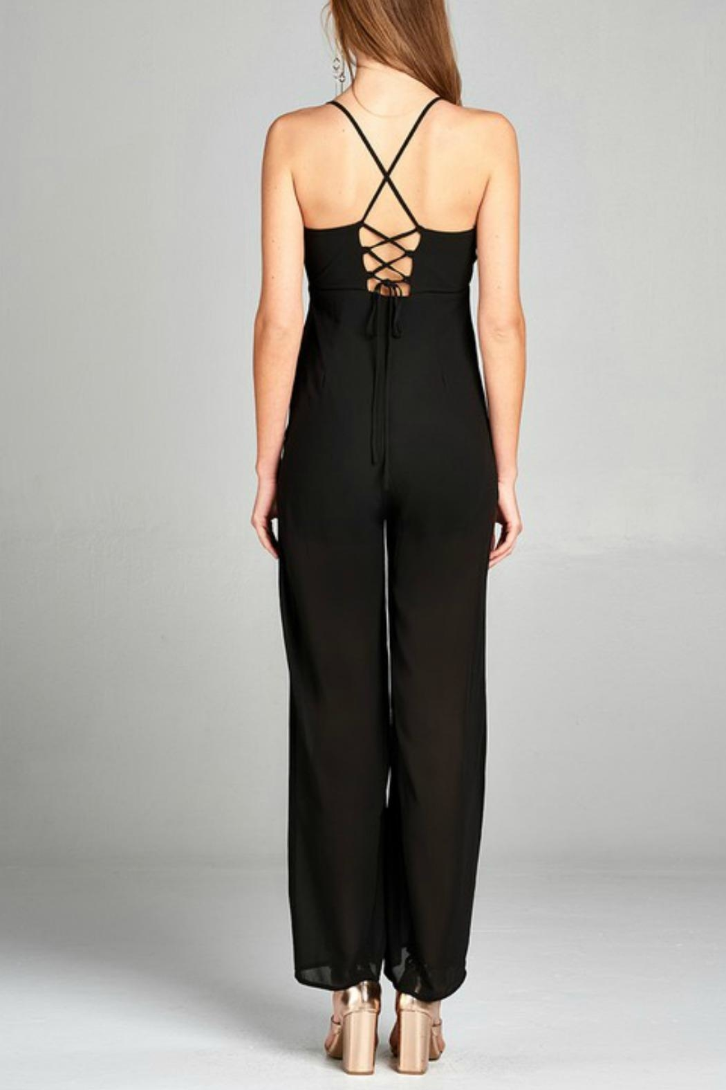 Active Basic Plunging Jumpsuit - Front Full Image