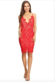 Kaylee Plunging Lace Dress - Product Mini Image