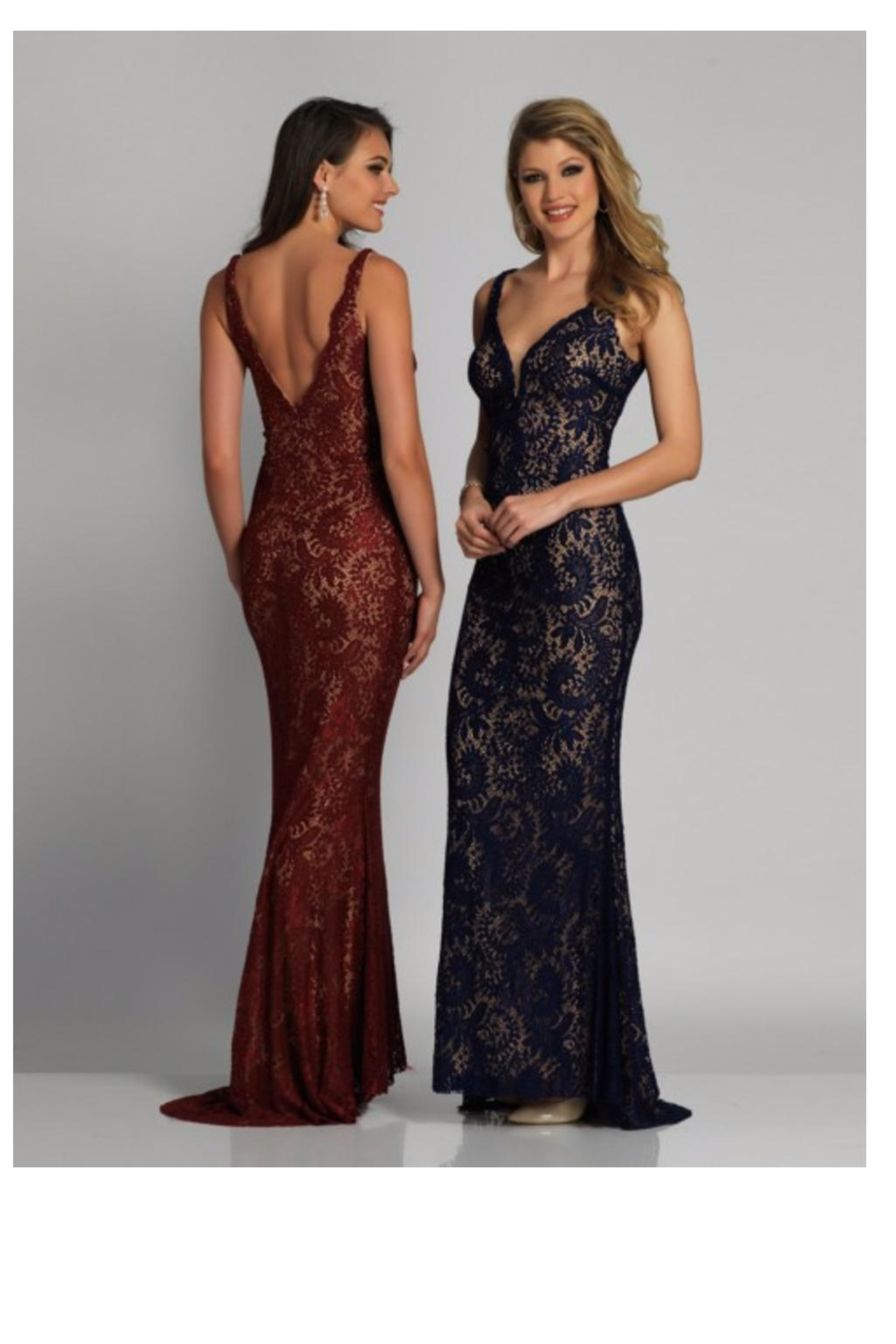 Dave and Johnny Plunging Lace Gown - Main Image