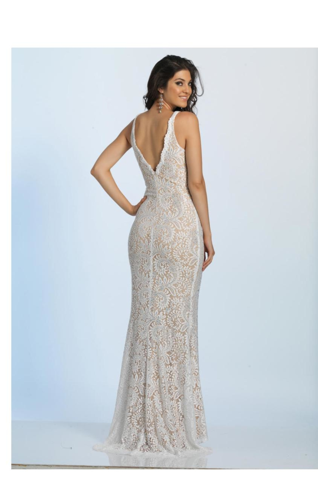 Dave and Johnny Plunging Lace Gown - Front Full Image