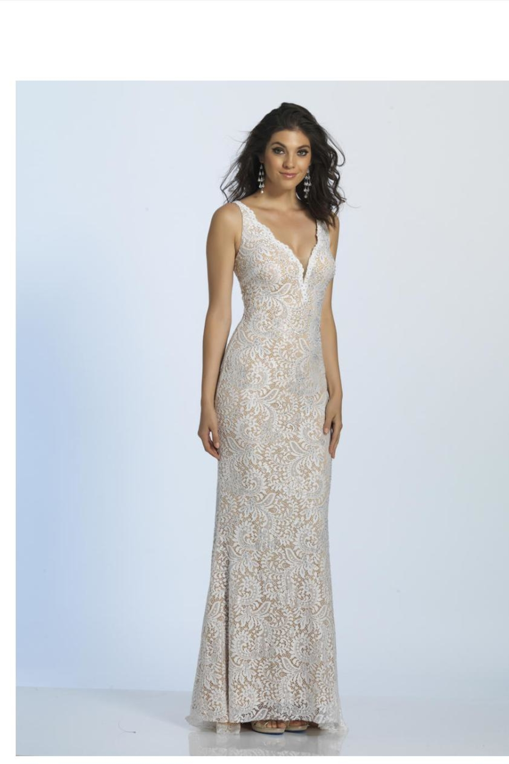 Dave and Johnny Plunging Lace Gown - Front Cropped Image