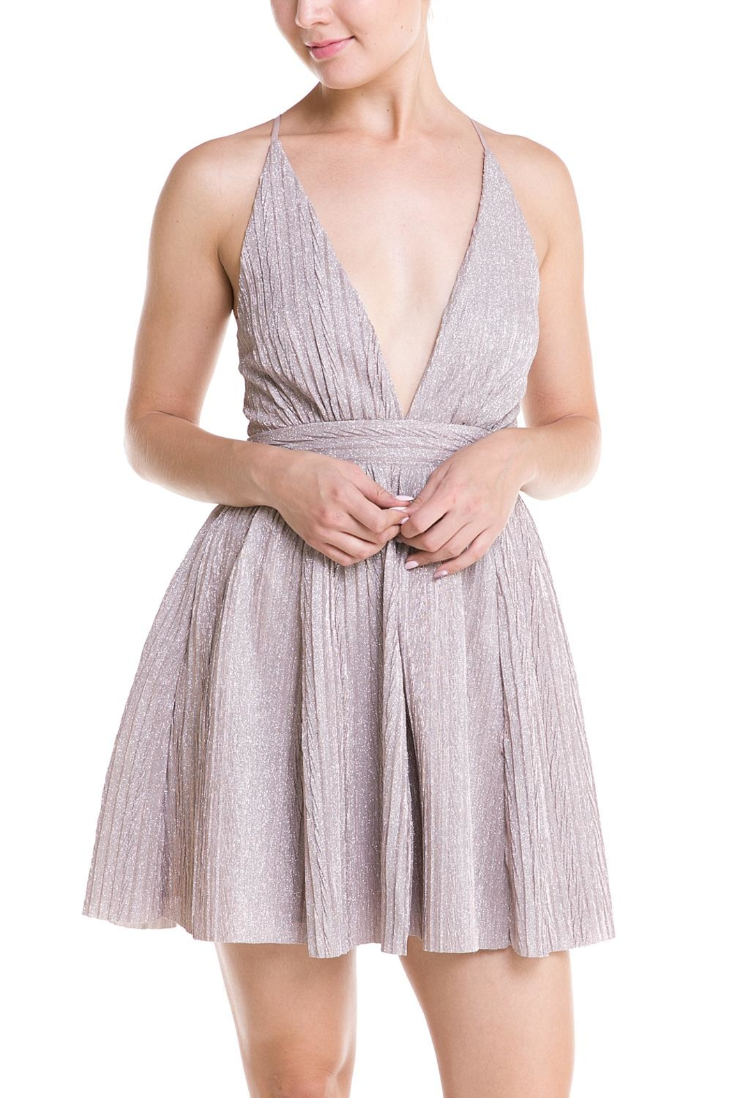 luxxel Plunging Neckline Dress - Front Full Image