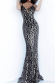 Jovani Plunging Neckline Spaghetti Straps Gown - Front cropped