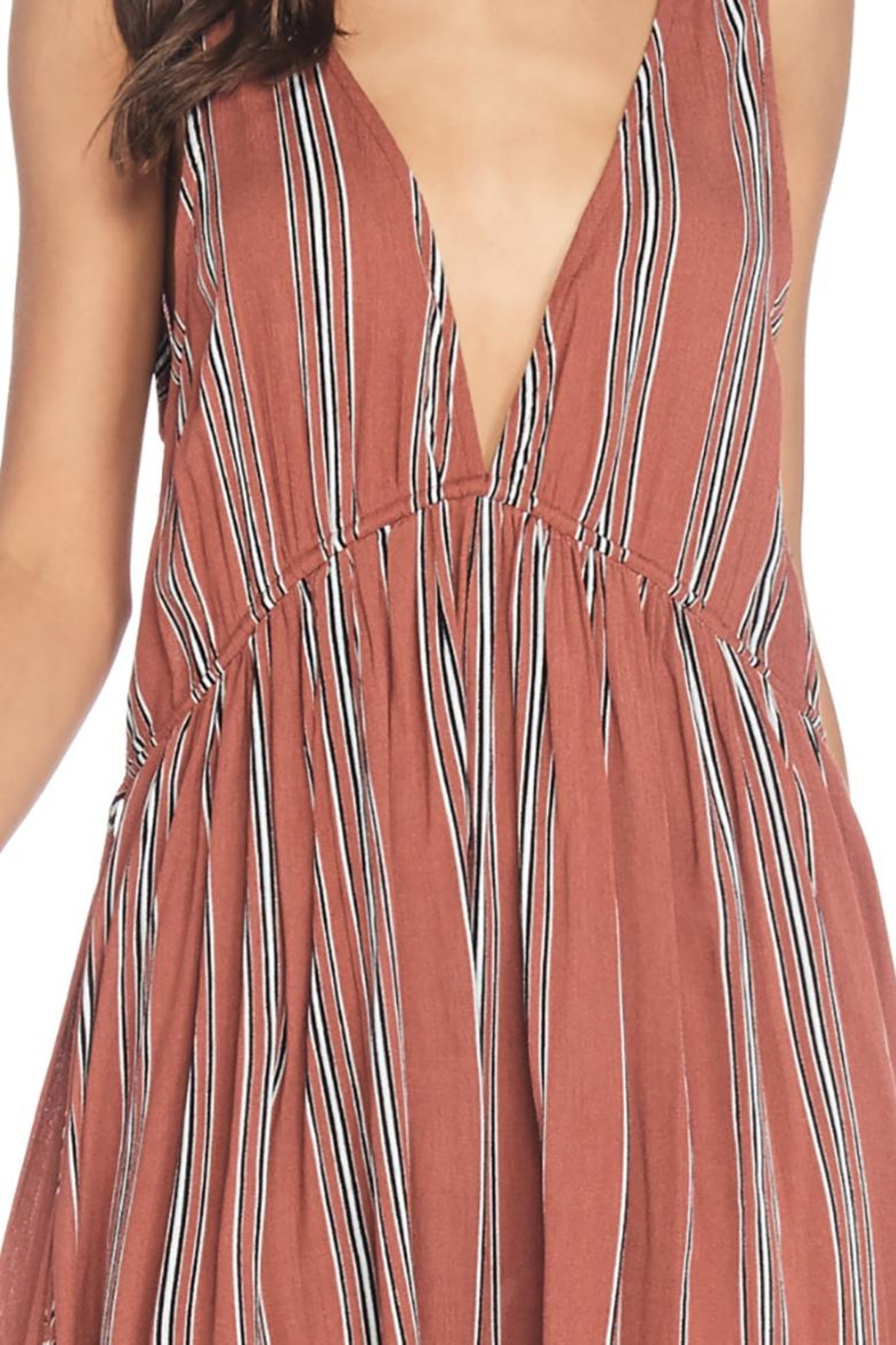 Anama Plunging Striped Dress - Side Cropped Image
