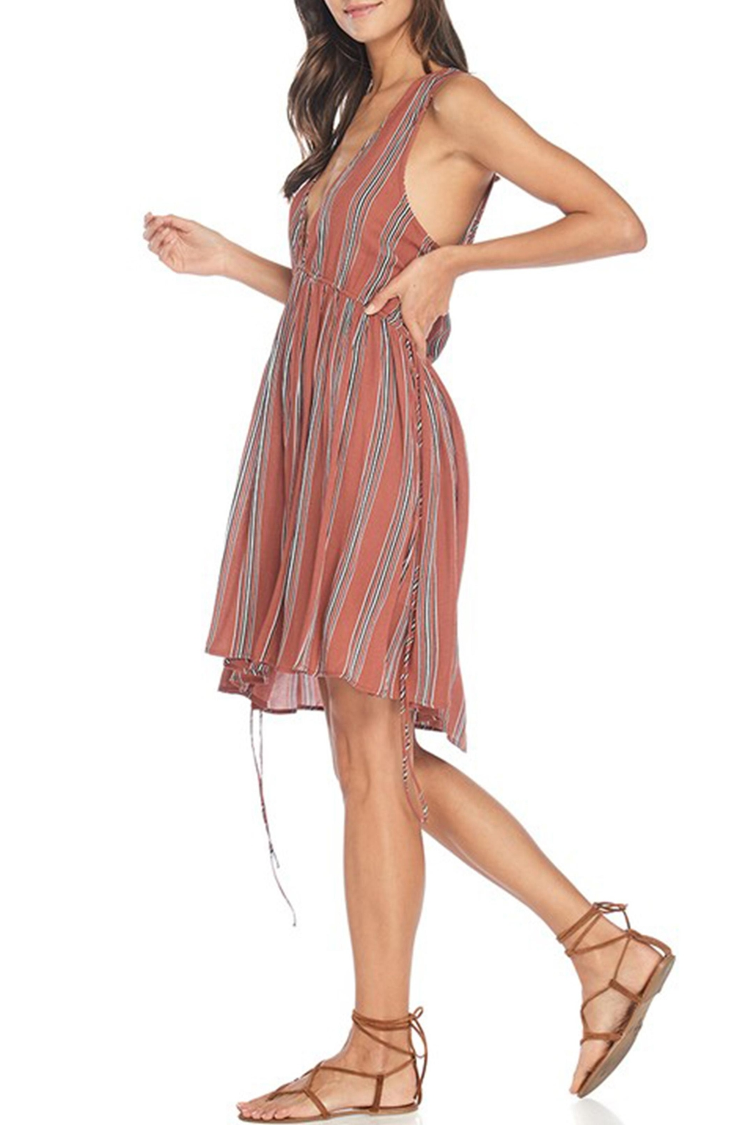 Anama Plunging Striped Dress - Front Full Image