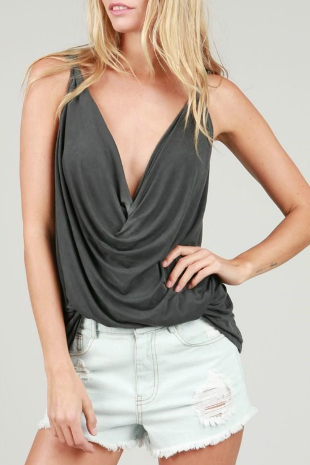 POL Plungng Twist Tank Top - Front Cropped Image