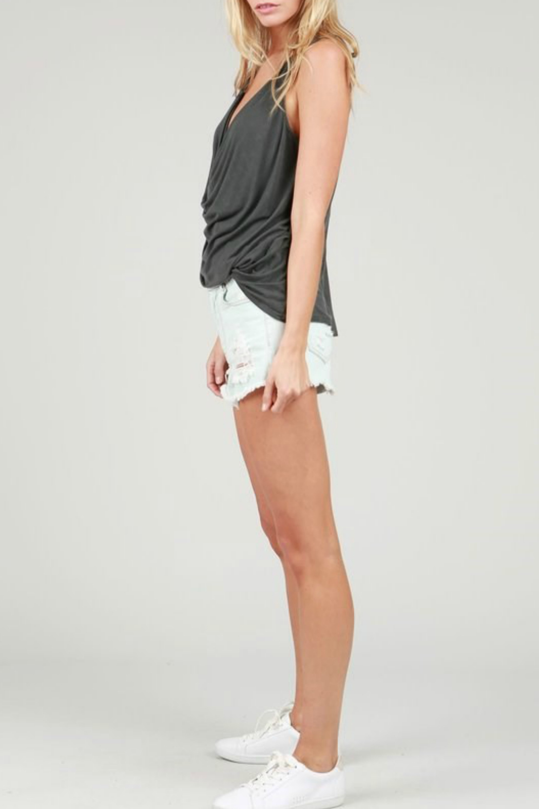 POL Plungng Twist Tank Top - Front Full Image