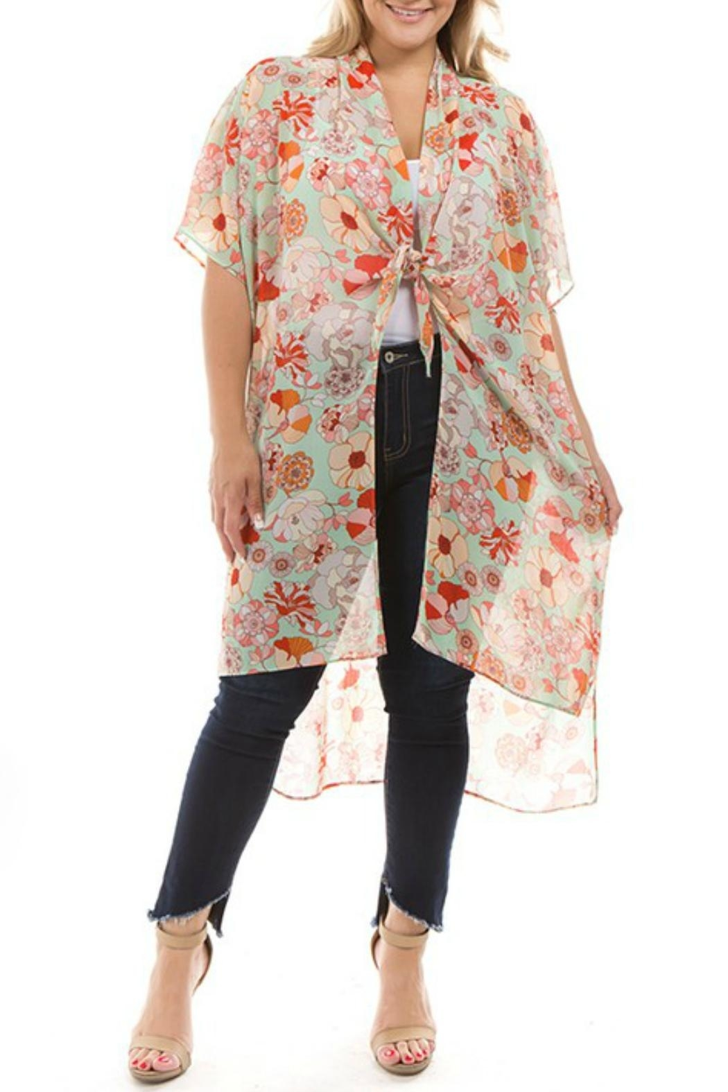 Spin USA Floral Kimono - Front Cropped Image