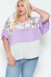 Story Teller Plus Mixed Fabric Top - Product Mini Image