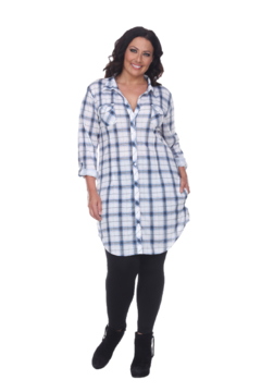 White Mark  Plus Piper Stretchy Blue White Plaid Tunic - Product List Image