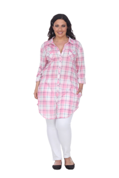 White Mark  Plus Piper Stretchy Pink White Plaid Tunic - Product List Image