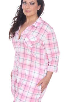 White Mark  Plus Piper Stretchy Pink White Plaid Tunic - Alternate List Image