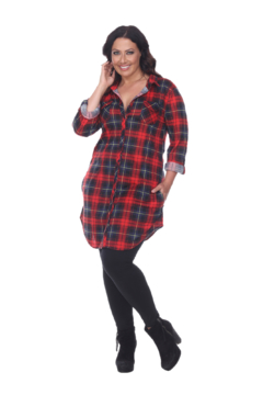 White Mark  Plus Piper Stretchy Red Black Plaid Tunic - Alternate List Image