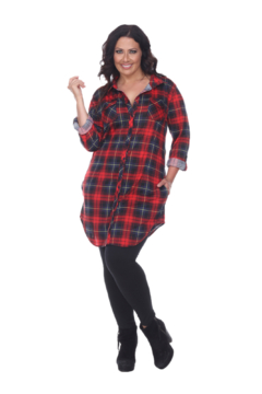 White Mark  Plus Piper Stretchy Red Black Plaid Tunic - Product List Image