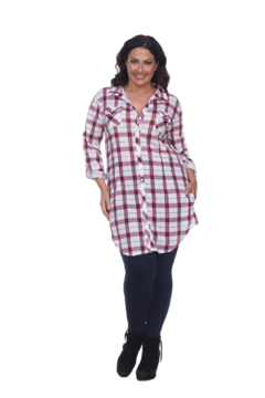 White Mark  Plus Piper Stretchy Red White Plaid Tunic - Product List Image