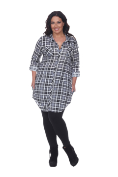 White Mark  Plus Piper Stretchy White Black Plaid Tunic - Product List Image