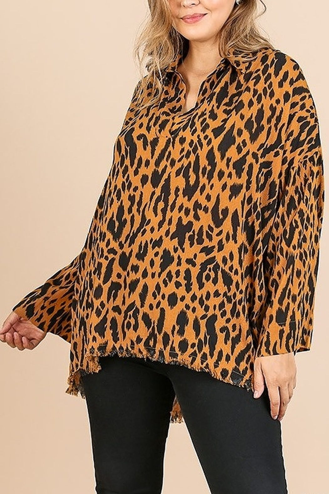 Umgee PLUS SIZE Animal Print Long Sleeve V-Neck - Main Image