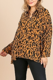 Umgee PLUS SIZE Animal Print Long Sleeve V-Neck - Front cropped