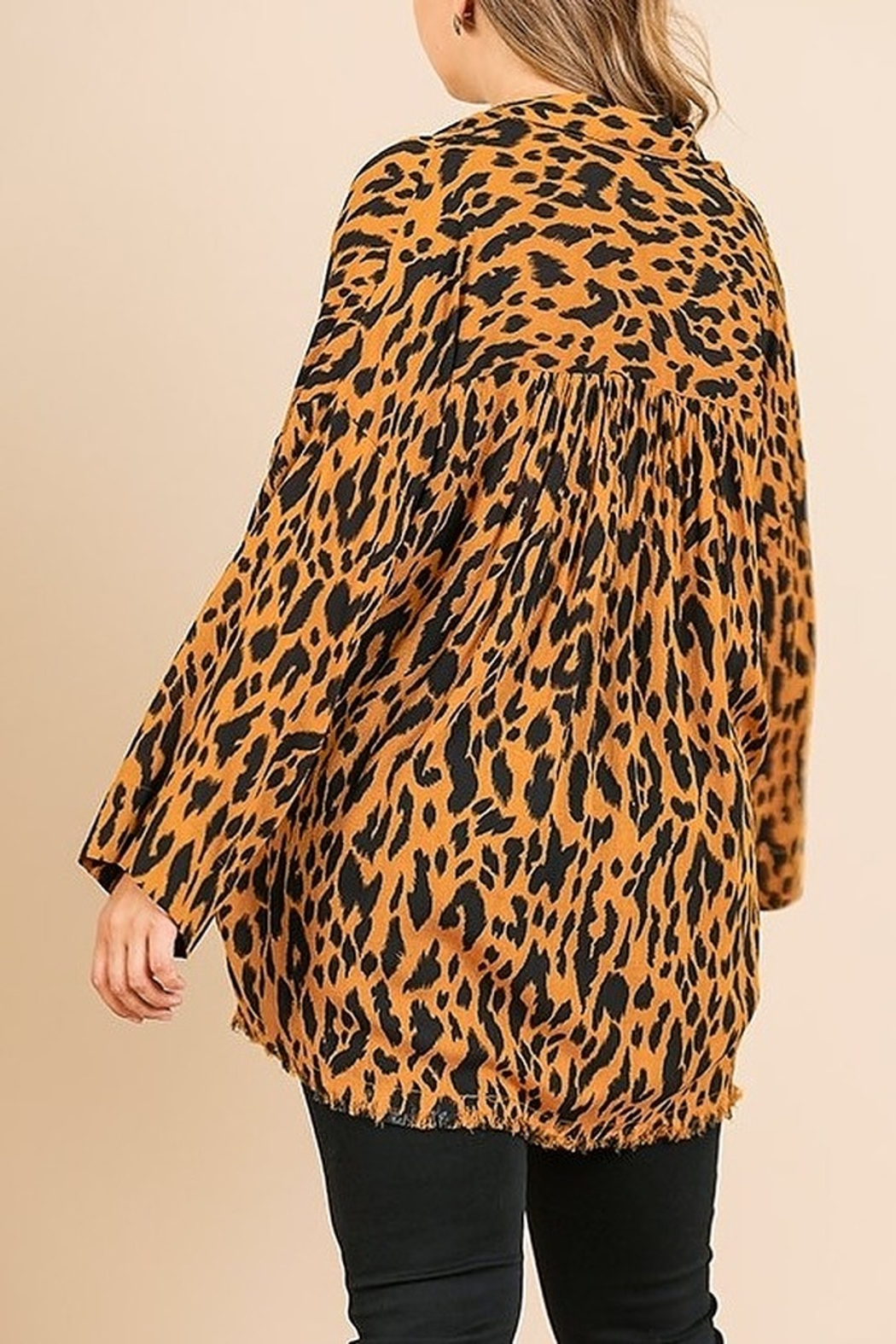 Umgee PLUS SIZE Animal Print Long Sleeve V-Neck - Front Full Image