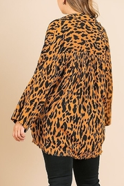 Umgee PLUS SIZE Animal Print Long Sleeve V-Neck - Front full body