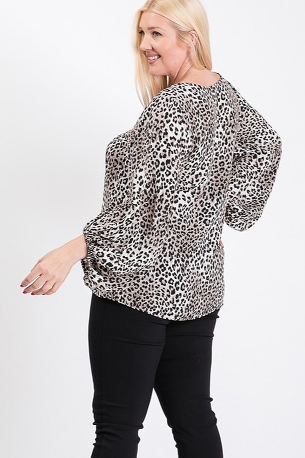 eesome Plus Size Animal Print Top - Front Full Image