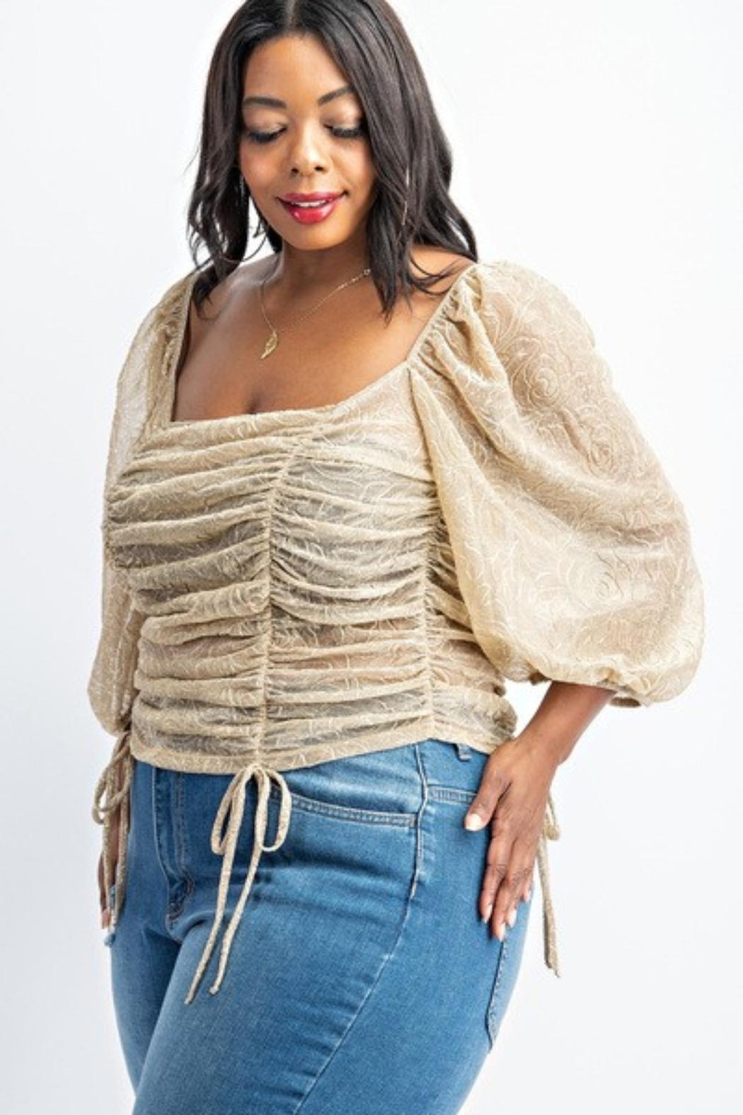 curve by judani Plus Size Ballon Sleeve Ruched Top - Front Full Image