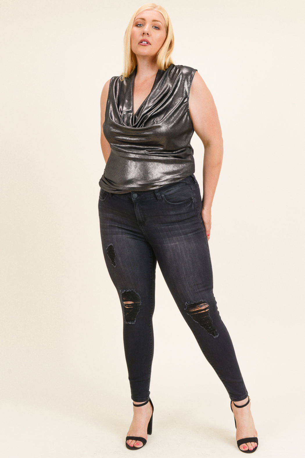 Celebrity Pink  Plus size distressed jeans - Main Image