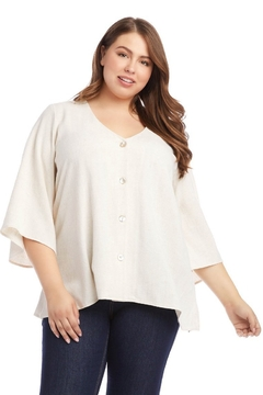 Karen Kane Plus Size Flare Hem Top, Oatmeal - Alternate List Image