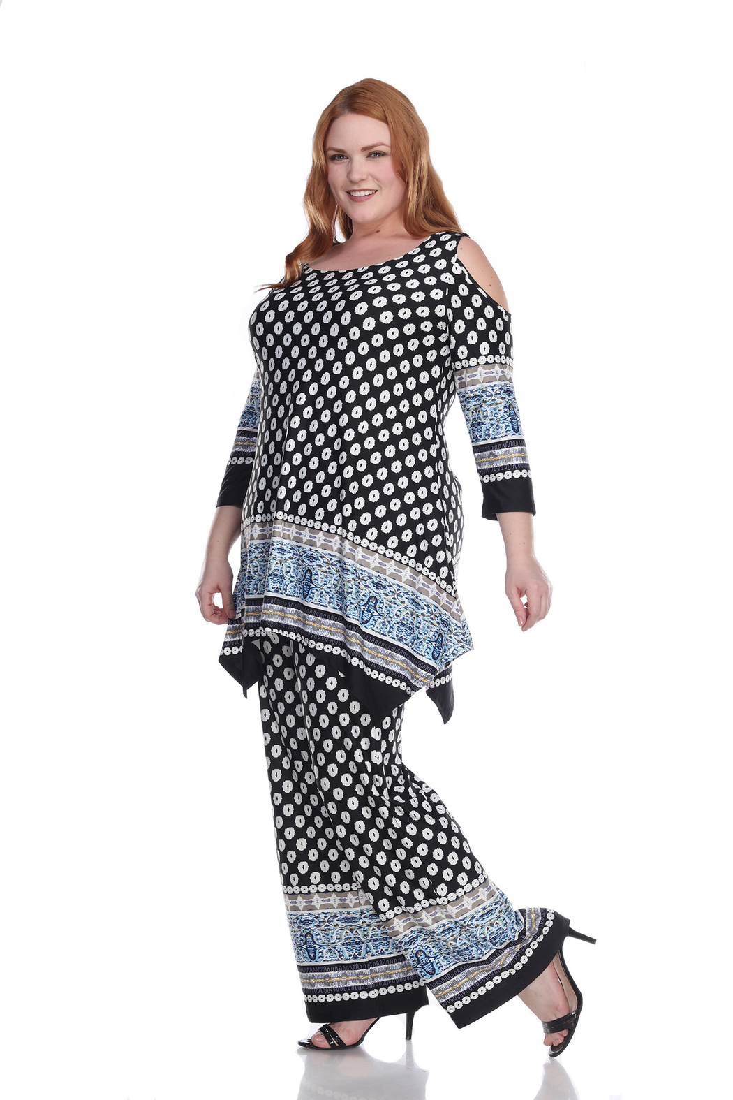 WhiteMark Plus Size Head to Toe Printed Set - Front Full Image