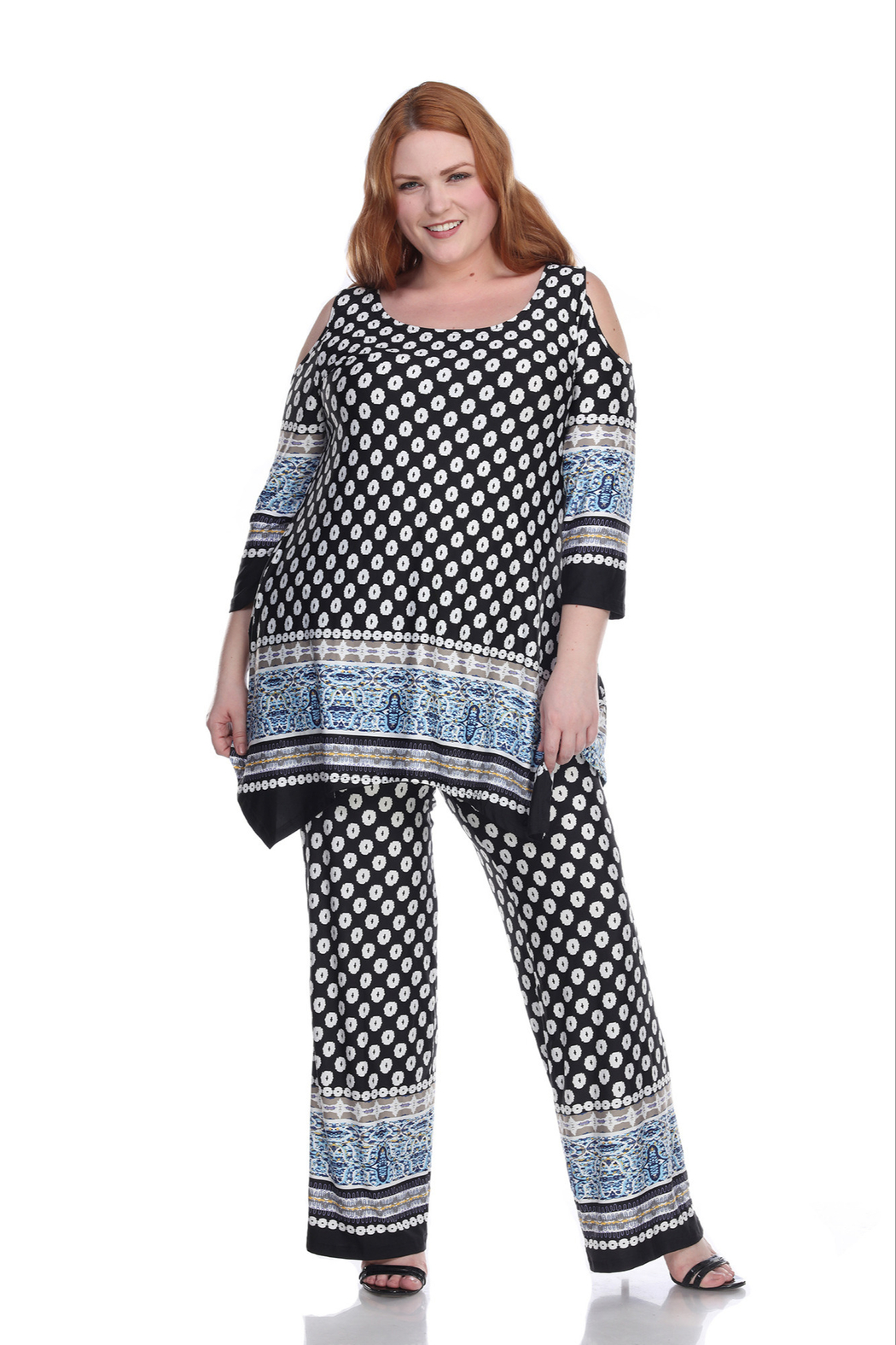 WhiteMark Plus Size Head to Toe Printed Set - Main Image