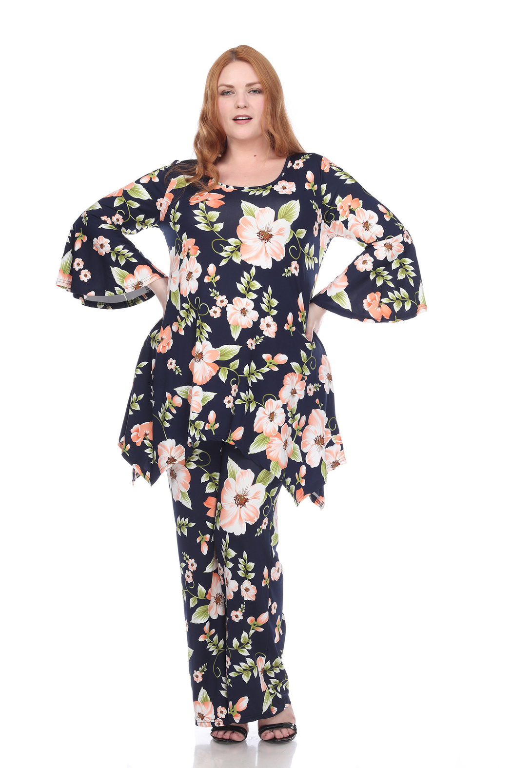 WhiteMark Plus Size Head to Toe Printed Set - Front Cropped Image