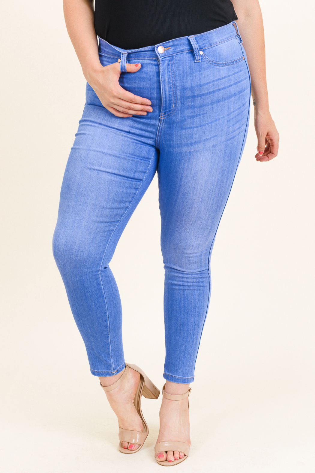 MONTREZ Plus size high rise skinny jeans - Side Cropped Image