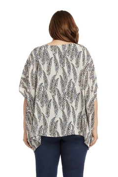 Karen Kane Plus Size Layered Scarf Top, Feather Print - Alternate List Image