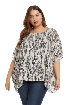 Karen Kane Plus Size Layered Scarf Top, Feather Print - Product List Image